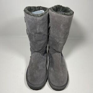 MUK LUKS Womens Faux Fur Faux Suede Knit Boots Right Sz 9 Left Sz 10 Gray 16969