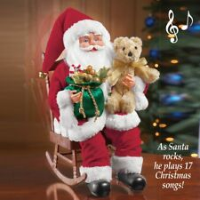 Festive Animated Musical Santa Claus Figure in Rocking Chair / Plays 17 Songs