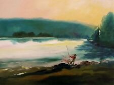 ORIGINAL Fishing Landscape OIL  Painting JMW art John Williams Impressionism