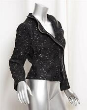 VALENTINO Black and White Wool Ruffle Zip Front Leather Trim Jacket sz.10