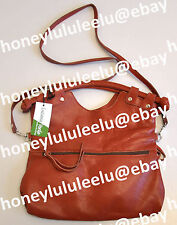 Luciana Verde BROOKLYN FOLDOVER Leather Tote Handbag Bordeaux New Tags Authentic