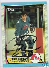 JEFF BROWN QUEBEC NORDICS  1989 TOPPS AUTOGRAPHED HOCKEY CARD JSA