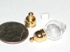 1 Adorable little Tear Rain Drop Glass bottle vial charm pendant gold plated 5mm