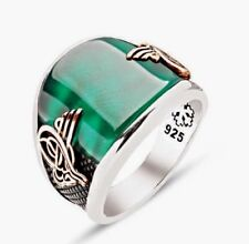 925 Sterling Silver Mens Ring, Ottoman tugre, Jade stone