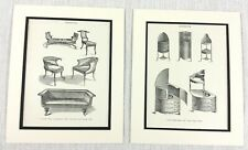 1899 Antique Set of Prints Nightstand Sheraton Furniture Sofa Salon Chairs PAIR