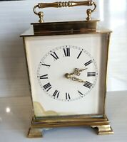 Vintage 70's very rare and unusual brass quartz carriage clock with chimes