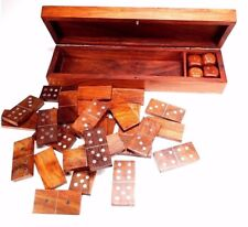 Handmade Wooden games with large Domino and 4 DICES dans game storage box Design 7