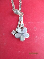 """Mother Of Pearl Flower 925 Silver  24"""" Necklace"""