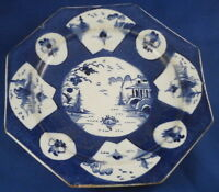 Antique 18thC Bow Porcelain Blue & White Pattern Plate Porzellan Teller 1765