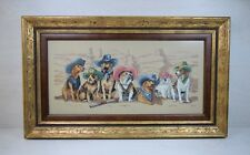 Antique Handmade Gobelin Painting of 7 Dog Breeds Breed Hunting Dogs Hunter Art