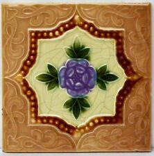 Alte Reliefkachel Wandkachel Kachel Fliese um 1900 Blume Blumen Blüten 15x15cm