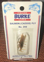 Vintage BURKE Fishing Lure No.202 Salmon (Caddis) Fly New In Card