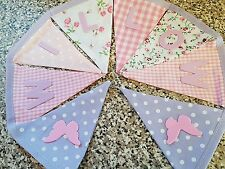 PERSONALISED BUNTING- LILAC & PINK VINTAGE & BUTTERFLY'S - £1 PER FLAG, FREE P&P