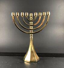 Hanukkah Menorah Jewish Judaica Vintage Brass Chanukah Candle Holder Unique Used