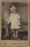 1910s CP little blonde girl bow long curled hair arcade Russian antique photo #2