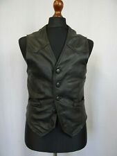 Men's Vintage Leather Biker Waistcoat Gilet Vest 34R