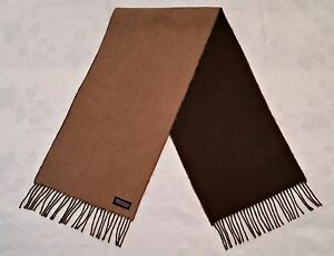 VINTAGE WESTBURY REVERSIBLE BEIGE BROWN WOOL LONG MEN'S FRINGE SCARF