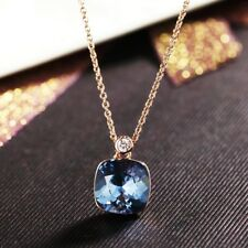 18K Rose Gold Filled Made With Swarovski Crystal Cushion Cut Sapphire Necklace
