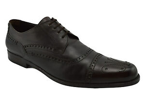 $650 DOLCE & GABBANA Brown Leather Brogue Cap Toe Oxfords Dress Mens Shoes 42 8