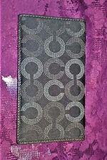 Coach Checkbook Cover Metallic Chocolate Brown Lg. C Signature Jacquard Wallet