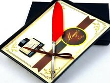Red Goose feather Quill Pen with Gift Box Ink Bottle without Ink