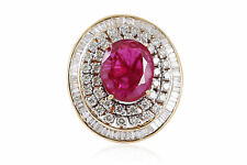 Pave 8.77 Cts Natural Diamonds Ruby Cocktail Ring In Solid Hallmark 14Karat Gold