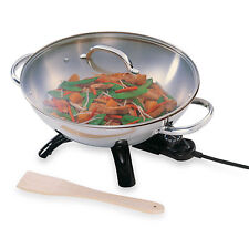 Presto Stainless Steel Electric 14 Inch Wok Skillet with Aluminum-Clad Bottom