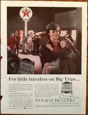texaco gasoline oil ad 1940 original vintage print 40s art mom & child restrooms