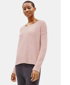 NWT Eileen Fisher Sugar Plum Pale Pink Lofty Cashmere Crewneck Sweater $428 PS