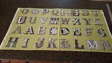 Letter Stitch Panel 23x42 J Wecker Frisch Quilting Treasures Alphabet Green
