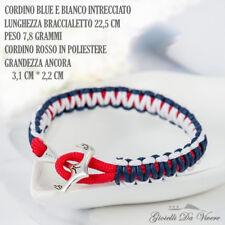 cordino Argento ANCORA Blu Braccialetto marinaio Uomo bracciale NAUTICA NAVY ml