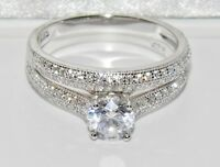Sterling Silver (925) 1.00ct Bridal Set Ring - size Q (2 Ring's)