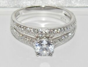 Sterling Silver (925) 1.00ct Bridal Set Ring - size M (2 Ring's)