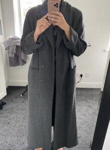 vintage Wool Blend marks and spencer Size 10 Dark Grey Long Coat