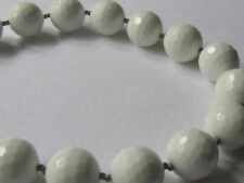 white agate necklace/12 mm faceted rounds,necklace choker/21 ins long/pouch