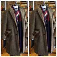 Brown Herringbone Men's Coat Blazer Long Vintage Formal Business Groom Tailored