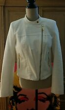 MICHAEL KORS WHITE MOTORCYCLE STYLED TWEED ZIPPER JACKET COAT 8