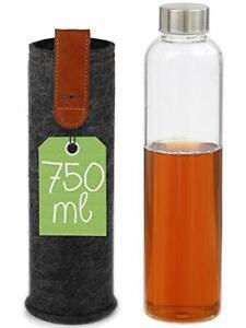 Glasflasche 750ml mit Filztasche Sport Wasser Trink Tee Flasche Bottle Getränk