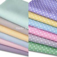 Pastel Polka Dots / Plains Bundles - 100% Cotton Fabric - Fat Quarter Bundle