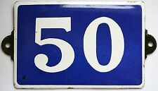 Old used French house number 50 door gate plate plaque enamel steel metal sign