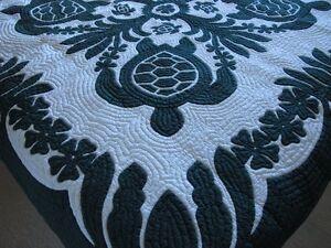 Hawaiian quilt wall hanging handmade 100% hand quilted/appliqued BEDSPREAD BG
