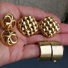 Vintage 3 Pairs Of Givenchy Yellow Gold Clip On Earrings