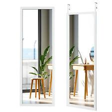Door Wall Mounted Mirror Full Length Hanging Wood Frame Mirror Decor White