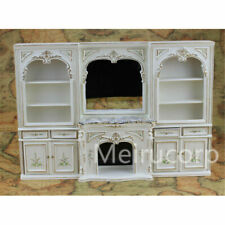 Dollhouse Miniature 1/12 Scale Luxury White Hand Painted Fireplace and Wall