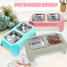 Pet Dog Cat Double Stainless Steel Bowls Water Food Feeder Dish Raised Stand Us