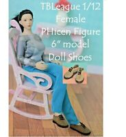 Miniature Shoes 1:12 for TBLeague Phicen or Figma Doll , Dollhouse Brown Shoes
