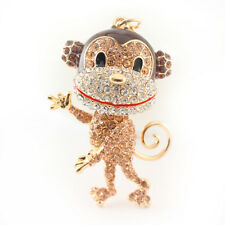 Year of the Monkey Gold Keychain Crystal Charm Cute Animal Purse Gift 01306A
