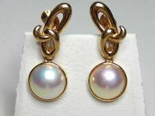 Vintage 18K Solid Yellow Gold Mabe Pearl Knot Dangle Earrings Screwbacks