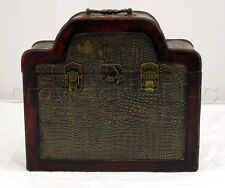 Vintage Oil Scrubbed Sheet Brass Plated Wooden Latching Locking Box Chest