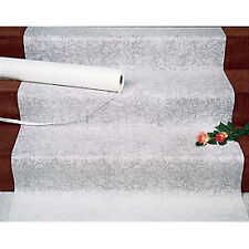 New White Floral Design Wedding Aisle Runner 100 ft